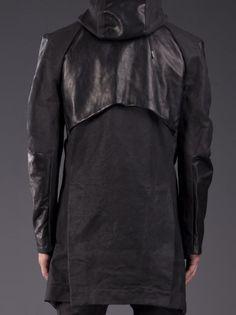 BORIS BIDJAN SABERI Hooded Snap Jacket with Leather Sleeves.
