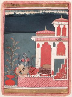 """Gunakari Ragini. Opaque watercolor and gold on paper,  Central India, ca. 1640 - 50,  Museum of Fine Arts, Boston, Reverse: in Devanagari: """"Blooming like a flower herself, she gathers blossoms with her heart full of gladness, For the coming of her Lord Malkaus, she duly prepares for bed."""" Also, Persian inscriptions. India Painting, Paradise Garden, Old Paintings, Museum Of Fine Arts, Indian Art, 17th Century, Krishna, Blossoms, Persian"""