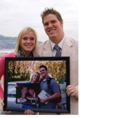 Anniversary picture idea.. Hold pic from year before...