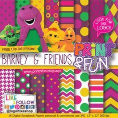 #Barney #Dinosaurs Digital Paper  Logo clip art por Printnfun en Etsy, €3.00 #digitalpaper #candybar #sweettable #mesadedulces #partyideas #partyplanner #events #festa #fiesta #cumpleanos #birthday #invitations #invitaciones #partyprintables