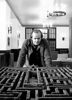 The Shining - Jack looks over the maze. A hint of things to come.  - - Famous scenes from horror movies through the years