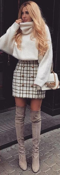 #winter #outfits white turtleneck sweater with white and brown mini skirt