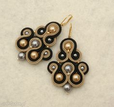 • pendientes hechos a mano, joyas - pendientes, negro y marrón