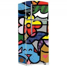 Envelopamento de geladeira - Romero Brito Fridge Decor, Custom Paint, Restoration, Cool Stuff, Diy, Painting, Decals, Appliances, Ceramics