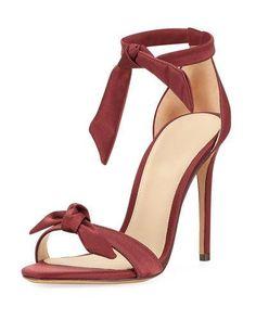 X3PRJ Alexandre Birman Clarita Satin Ankle-Tie Sandal, Wine
