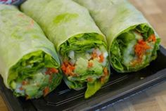 Spinach/lettuce (one or both), avocado, tomato, cucumber, capsicum/pepper and some hummous or tahini into a wrap, wrap it up and eat!