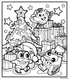Print and color this fun Christmas scene as our favorite Scentos characters set presents underneath the tree!