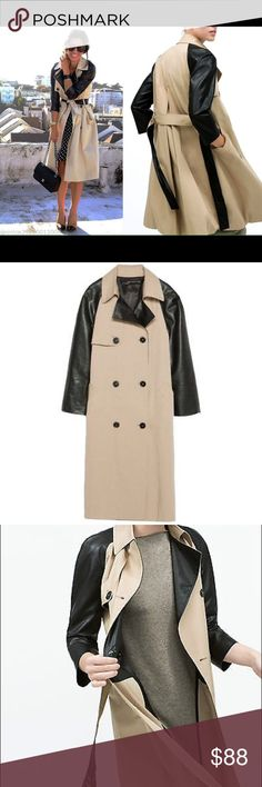 ZARA FAUX LEATHER SLEEVE TRENCH COAT Beautiful Tan colour coat..with Black accents.. Faux leather sleeves..Fully lined. Brand new with tags. Never worn. Zara Jackets & Coats