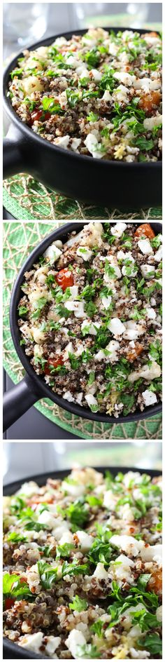 Vegetarian Quinoa Bake made with roasted vegetables, olive oil and feta cheese.