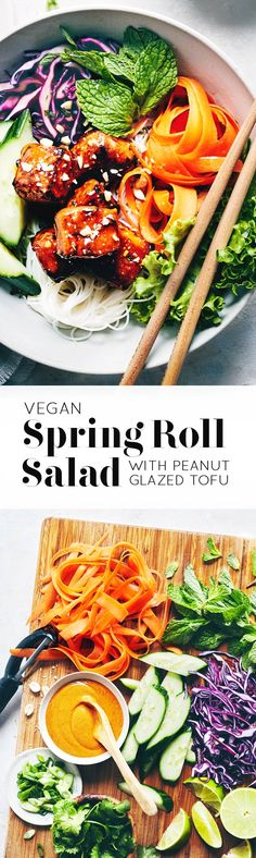 All the flavors of Vietnamese Salad Rolls, without the fuss of finicky wraps. The peanut-glazed tofu is seriously addictive, and pairs perfectly with the noodles' ginger lime vinaigrette. (V+GF)