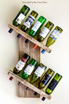 Reclaimed Wooden Rustic Wine Rack. Handmade using lovely rustic reclaimed wood.The wood is carefully chosen from chunky 38mm (1.5) reclaimed scaffolding planks. These reclaimed planks have aged beautifully and show off a lovely grain. A great way to display and store your favourite Wine Display, Bottle Display, Bottle Rack, Wine Bottle Holders, Large Wine Racks, Rustic Wine Racks, Reclaimed Wood Projects, Diy Wood Projects, Reglette Led