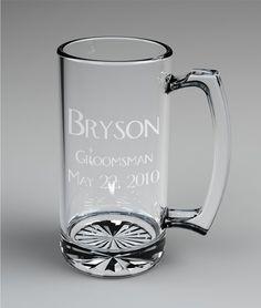 4 Personalized Groomsman Beer Mugs Custom Engraved by ronniemade, $57.00