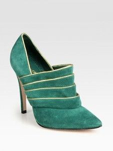 Alice + Olivia Dame Suede and Metallic Leather Ankle Boots