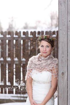 Wedding Shawl Bridal Shrug Crochet Shawl Winter di MODAcrochet