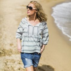 Lion blouse - summerstripes dark grey