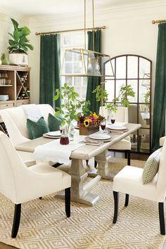Bold drapery panels in Emerald velvet. Cream, emerald, gold and white...