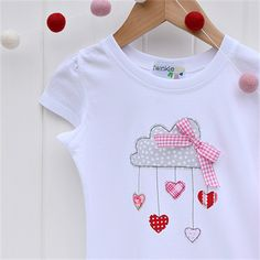 """Let love rain down"" Applique tee sizes 1-7 Red Pink Grey Rain cloud Valentine"
