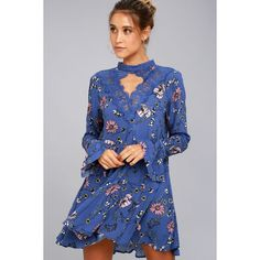 New You Royal Blue Floral Print Lace Long Sleeve Swing Dress ($49) ❤ liked on Polyvore featuring dresses, blue, long-sleeve floral dresses, long sleeve fitted dress, long sleeve dress, blue floral dress and royal blue long sleeve dress