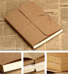 2014 vintage kraft cover paper blank doodle / notebook - >>> Bks - News Notebook Diy, Handmade Notebook, Notebook Design, Handmade Books, Journal Notebook, Journals, Vintage Notebook, Notebook Doodles, Cool Notebooks