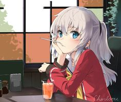 Anime picture 1081x922 with charlotte key (studio) tomori nao musk tiger long hair single blush blue eyes looking at viewer fringe ponytail inscription silver hair holding mouth hold indoors hand on face hand support girl uniform