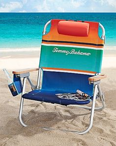 Nothing better than a cold one while you're lounging in the sand watching the waves go by! \\ Tommy Bahama - Stripe Deluxe Backpack Beach Chair