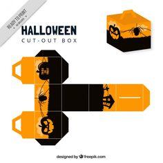 caixa de Halloween com abóboras Vetor grátis