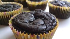 Rich Chocolate Avocado Cupcakes (sweetened with 1/3 c. honey and some chocolate chips)