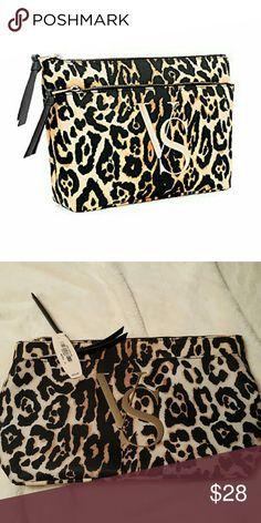NWT Victoria Secret double zip make-up bag NWT Leopard,  double zip Victoria's Secret Bags