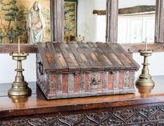 Early 17th century iron bound desk box, Marhamchurch antiques