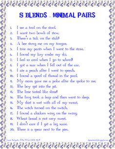 S Blends - Minimal Pairs in Sentences.  Free! Repinned by SOS Inc. Resources @sostherapy http://pinterest.com/sostherapy.
