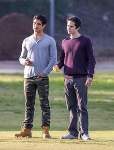 Dylan and Tyler P on set of season 5 Teen Wolf