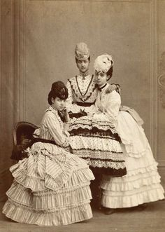 """europeanmonarchies:  The three Princesses of Denmark; Dagmar (later Empress of Russia), Alexandra (later Queen of  the United Kingdom) and Thyra (later Crown Princess of Hannover).   """"The beautiful, the wise and the gentle"""" as their father King Christian IX called them."""