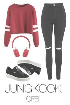 """""""to the fansing (bts)"""" by mazera-kor on Polyvore featuring мода, Beats by Dr. Dre, Puma, Topshop, bts и jungkook Kpop Fashion Outfits, Girls Fashion Clothes, Swag Outfits, Korean Outfits, Cute Casual Outfits, Stylish Outfits, Korean Fashion Kpop Bts, Tween Fashion, Emo Fashion"""