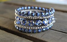 Shimmering Shades of Blue and Silver Multi Strand Memory Wire Wrap Bracelet