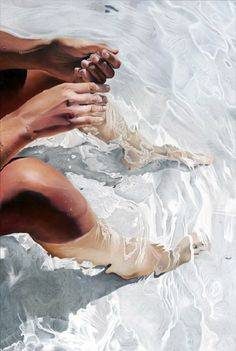 Artist: Josep Moncada {contemporary figurative female legs in water painting} Wet !!
