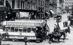 Horse tram in St Peter's Square, Nottingham, early Saint Peter Square, Nottingham City, St Peter's Church, Transportation, The Past, Horses, Pure Products, History, Taxi