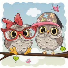 Two cute Cartoon Owls