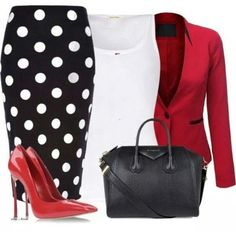 Black and white polka dot skirt red blazer white top date night outfit office outfit Mode Outfits, Fashion Outfits, Womens Fashion, Fashion Trends, Work Fashion, Fashion Looks, Jw Fashion, Style Fashion, Classy Outfits