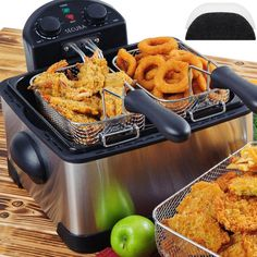 Stainless-Steel Triple-Basket Electric Deep Fryer by Secura