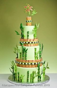 pale green cake decorated with bamboo and topped with a stargazer lily Whimsical Wedding Cakes, Themed Wedding Cakes, Themed Cakes, Gorgeous Cakes, Pretty Cakes, Amazing Cakes, Grass Cake, Panda Cakes, Asian Cake