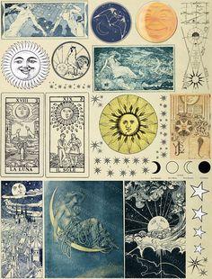 Printable Sun Moon and Stars Vintage Illustrations Digital Art Du Collage, Digital Collage, Collage Sheet, Collage Making, Images Vintage, Art Vintage, Vintage Art Prints, Vintage World Maps, Moon Illustration