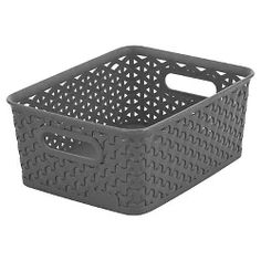 inches,H W inches, D inches Y Weave Small Storage Bin - Grey - Room Essentials™ : Target Cube Storage Baskets, Storage Tubs, Laundry Room Storage, Pantry Storage, Plastic Storage, Small Storage, Storage Units, Storage Boxes, Storage Shelves