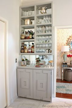 could be cool in front of glass cubes, as a built-in with bar purpose, glasses storage