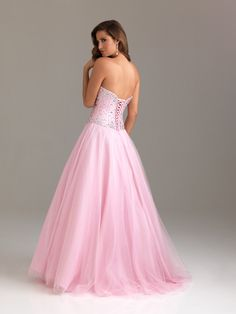 PRE-ORDER***2012 Night Moves by Allure Prom Dresses - Pink Beaded Taffeta & Tulle Corset Strapless Prom Gown - 0 - 18