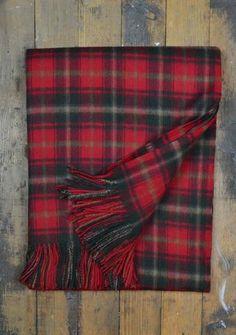 Classic Lambswool Blanket in Dark Maple Tartan