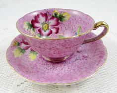 Vintage Purple Japanese Tea Cup and Saucer, Bone China