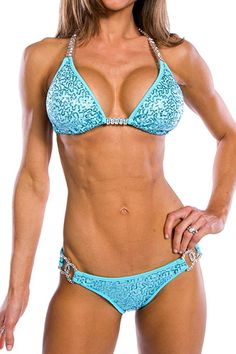 """New Bikini Competition Stage Suit """" Sewn in The Sun """" with Rhinestones Hardware 