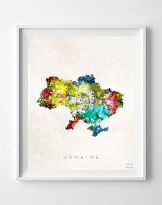 Ukraine Map Print, Kiev Print, Ukraine Poster, Watercolor Map, Watercolor Print, State Art, Giclee Art, Home Decor, Gift For Couple