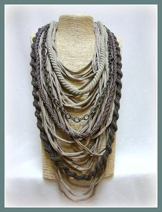 Pastel long t-shirt yarn necklace scarf necklace textile
