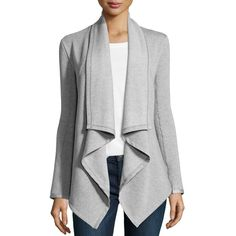 Neiman Marcus Zip-Cuff Draped Open-Front Cardigan ($52) ❤ liked on Polyvore featuring tops, cardigans, mist grey, grey drape cardigan, long sleeve cardigan, shawl collar open cardigan, grey open front cardigan and gray open cardigan